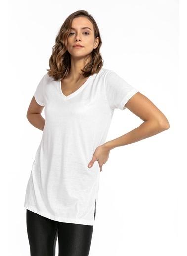 Tiffany&Tomato V Yaka Yanları Yırtmaçlı Simli T-Shirt - Beyaz Beyaz